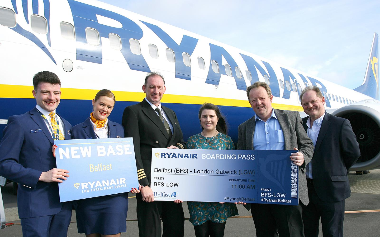 Ryanair gets water cannon salute as it opens new Belfast base